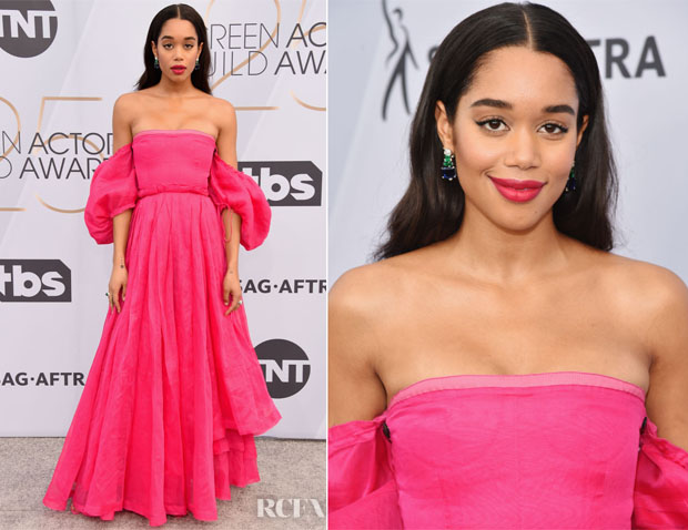 Fashion Blogger Catherine Kallon features Laura Harrier In Loewe - 2019 SAG Awards