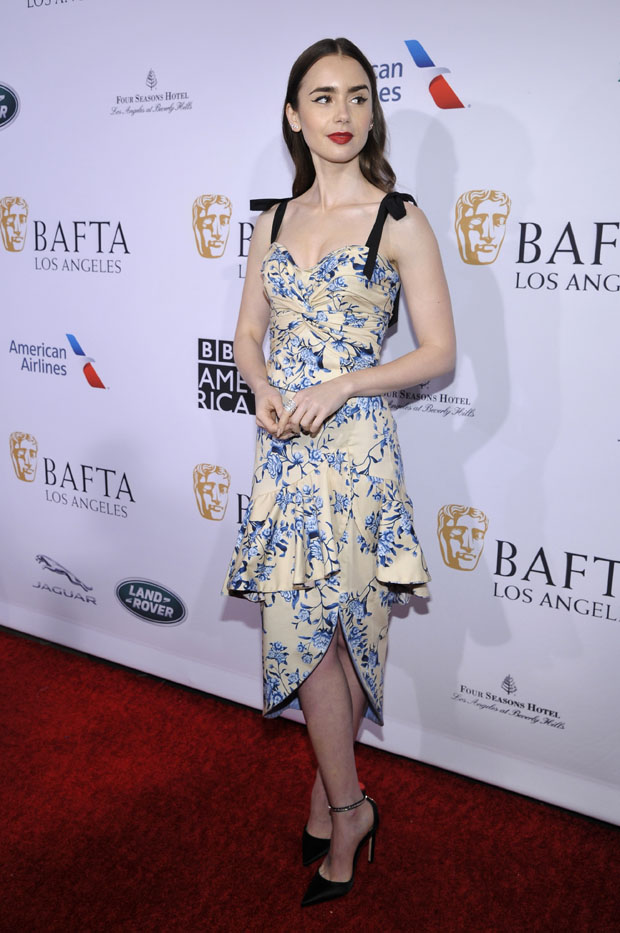 Fashion Blogger Catherine Kallon features Lily Collins In Johanna Ortiz - & BAFTA Los Angeles Tea Party