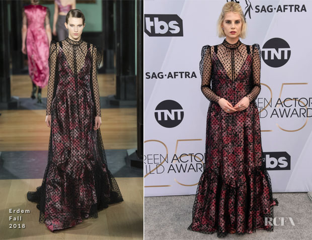 Fashion Blogger Catherine Kallon features Lucy Boynton In Erdem - 2019 SAG Awards