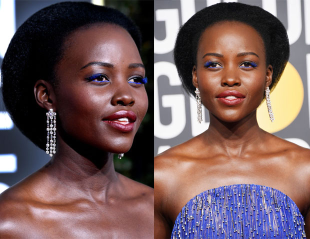 Fashion Blogger Catherine Kallon features Lupita Nyong'o Dazzles in Bold Electric Blue Beauty Look at 2019 Golden Globes