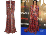 Naomie Harris' Dundas Printed Lamé Silk-Blend Gown