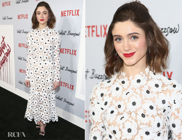 fashion bloggger catherine kallon features Natalia Dyer In Oscar de la Renta - 'Velvet Buzzsaw' LA Premiere