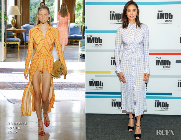 Fashion Blogger Catherine Kallon features Nina Dobrev In Altuzarra Visits The IMDb Show