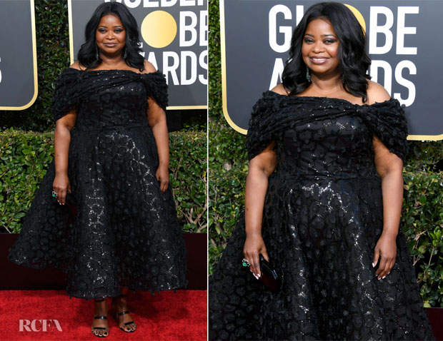 Fashion Blogger Catherine Kallon features Octavia Spencer In Christian Siriano - 2019 Golden Globe Awards