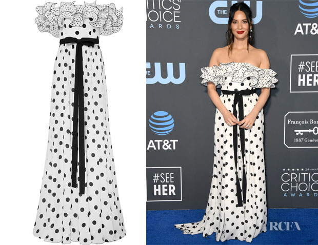 Olivia Munn's Andrew Gn Ruffled Off-The-Shoulder Gown