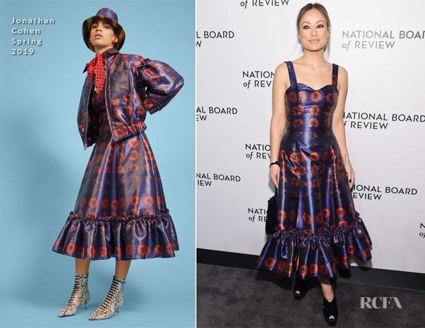 Fashion Blogger Catherine Kallon features Olivia Wilde In Jonathan Cohen - 2018 New York Film Critics Circle Awards