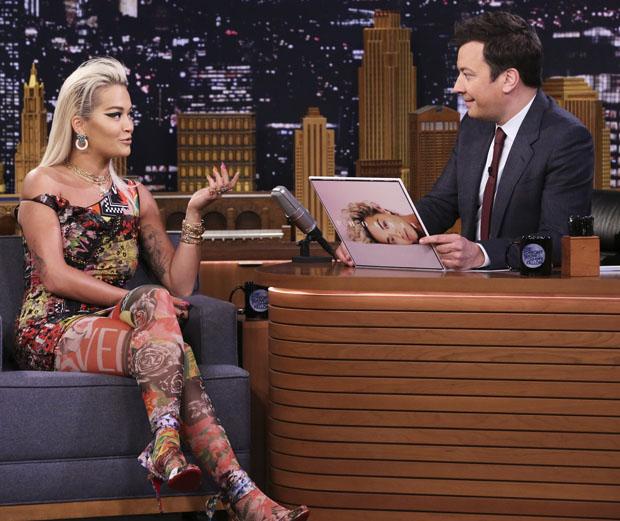 Fashion Blogger Catherine Kallon features Rita Ora In Versace - The Tonight Show Starring Jimmy Fallon