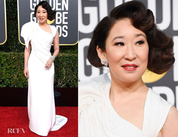 Fashion Blogger Catherine Kallon features Sandra Oh In Atelier Versace - 2019 Golden Globe Awards
