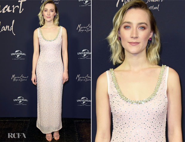 Fashion Blogger Catherine Kallon features  Saoirse Ronan In Miu Miu - 'Mary Queen of Scots' Berlin Screening