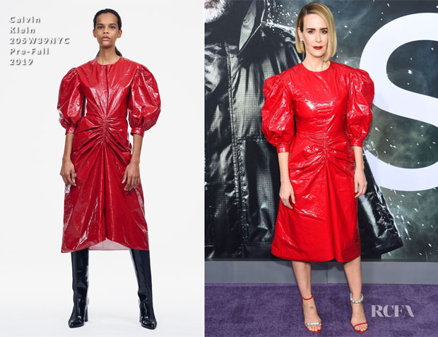 Fashion Blogger Catherine Kallon features Sarah Paulson In Calvin Klein 205W39NYC - 'Glass' New York Premiere