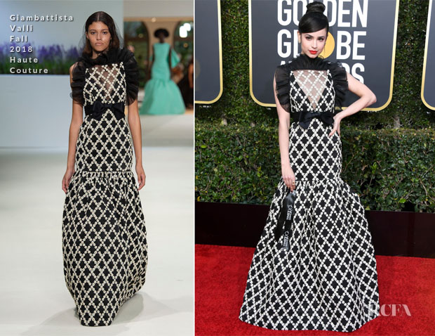 Fashion Blogger Catherine Kallon features Sofia Carson In Giambattista Valli Haute Couture - 2019 Golden Globe Awards