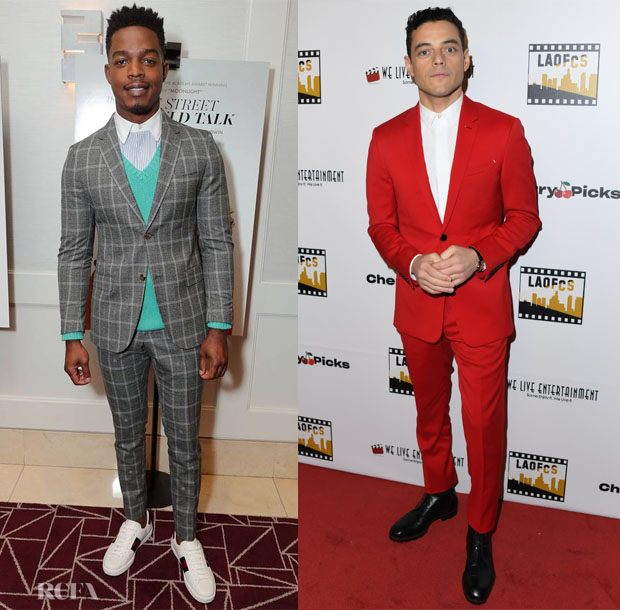 Fashion Blogger Catherine Kallon features Stephan James in Gucci Rami Malek in Berluti