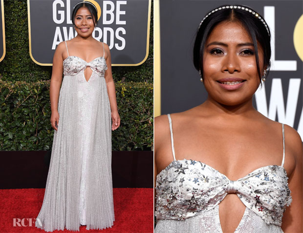 33acb6497c84 Fashion Blogger Catherine Kallon features Yalitza Aparicio In Miu Miu -  2019 Golden Globe Awards