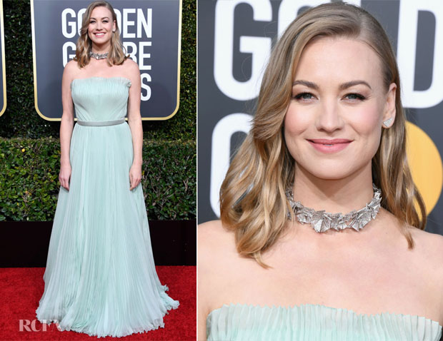 Fashion Blogger Catherine Kallon features Yvonne Strahovski In Alberta Ferretti Limited Edition - 2019 Golden Globe Awards