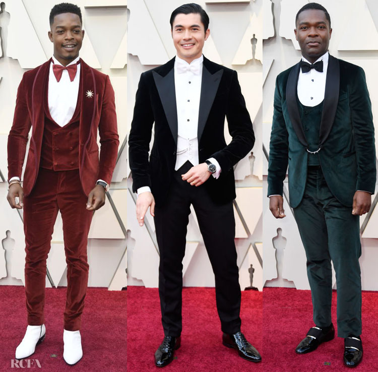 f724fbb8ca ... their rich patterns, but this custom Etro burgundy suit relied on even  richer velveteen texture for impact. David Yurman accessories and a  Swarovski pin ...
