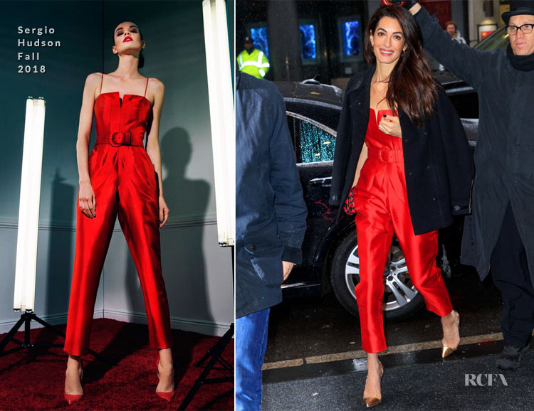 Fashion Blogger Catherine Kallon features Amal Clooney In Sergio Hudson - Meghan Markle's Baby Shower