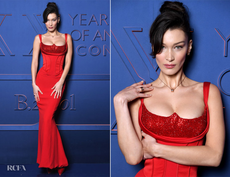 Fashion Blogger Catherine Kallon features Bella Hadid In Versace - Bvlgari B.ZERO1 XX Anniversary Global Launch
