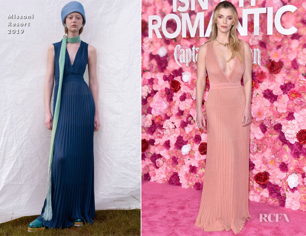 Fashion Blogger Catherine Kallon features Betty Gilpin In Missoni - 'Isn't it Romantic' LA Premiere