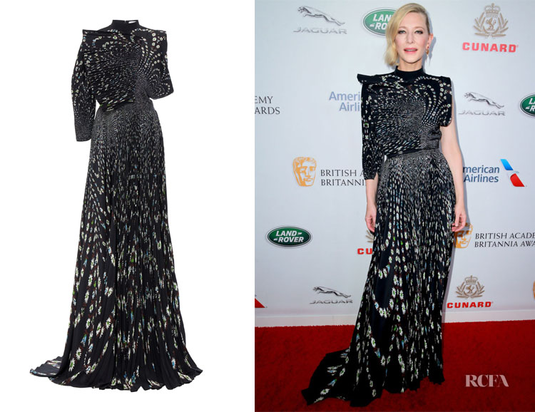 Cate Blanchett's Givenchy Asymmetric Floral-Print Pleated Silk Gown