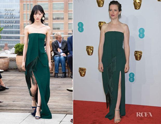 Fashion Blogger Catherine Kallon features Claire Foy In Oscar de la Renta - 2019 BAFTAs