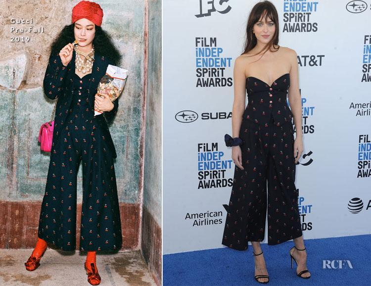 Fashion Blogger Catherine Kallon features Dakota Johnson In Gucci - 2019 Film Independent Spirit Awards