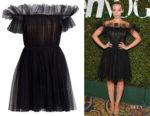 Dove Cameron's Giambattista Valli Off-The-Shoulder Tulle A-Line Dress