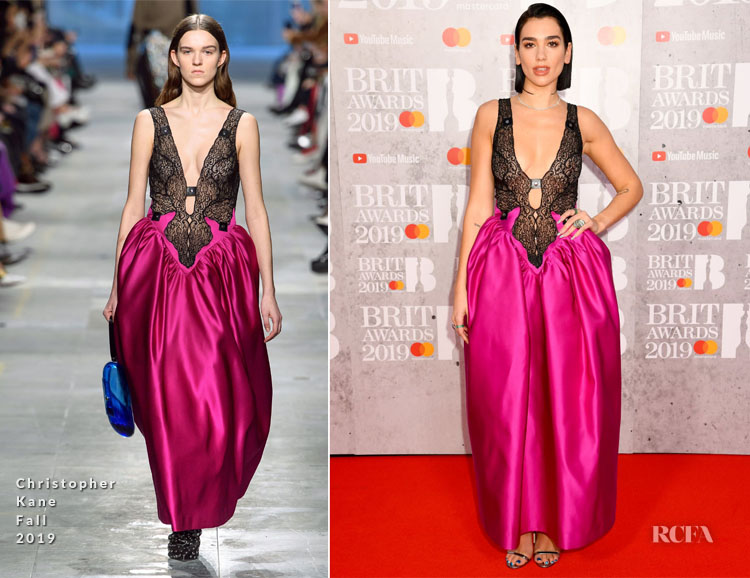 Fashion Blogger Catherine Kallon features Dua Lipa In Christopher Kane - The BRIT Awards 2019