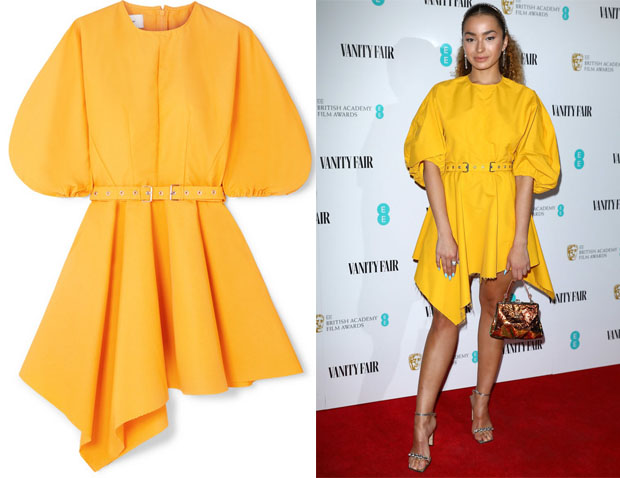 Ella Eyre's Marques'Almeida Belted Asymmetric Faille Mini Dress