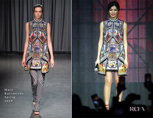 501e731eb14 Fashion Blogger Catherine Kallon features Gemma Chan In Mary Katrantzou -  Captain Marvel Talent Tour Fan