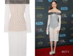 Karen Gillan's Christopher Kane Crystal-Embellished Off-The-Shoulder Dress