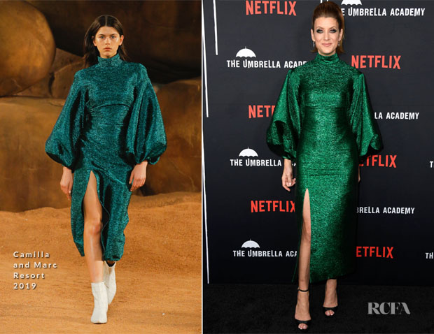 Fashion Blogger Catherine Kallon features Kate Walsh In Camilla and Marc - Premiere Of Netflix's 'The Umbrella Academy'