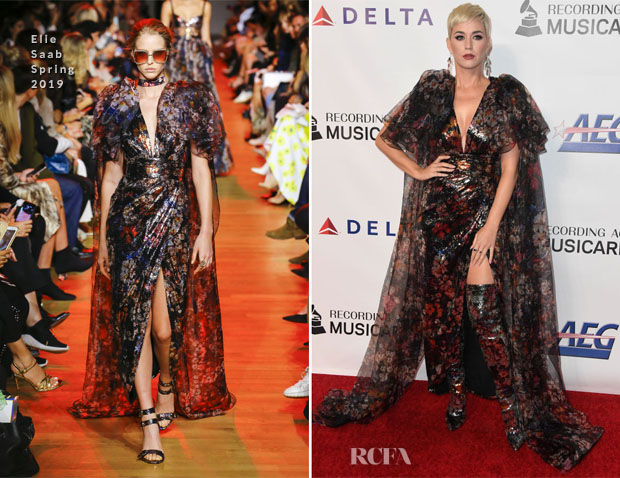 Fashion Blogger Catherine Kallon features Katy Perry In Elie Saab - MusiCares Person Of The Year Honoring Dolly Parton