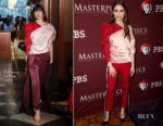 Fashion Blogger Catherine Kallon features Lily Collins In Hellessy - 2019 Winter TCA Tour