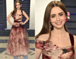 Lily Collins In Marchesa - 2019 Vanity Fair Oscar Party