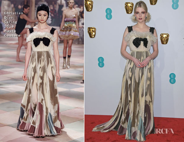 Fashion Blogger Catherine Kallon features Lucy Boynton In Christian Dior Haute Couture - 2019 BAFTAs