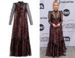 Lucy Boynton's Erdem Eilian Tulle-Overlay Floral-Jacquard Gown