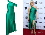 Malin Akerman's Cushnie One-Shoulder Asymmetric Silk-Satin Dress