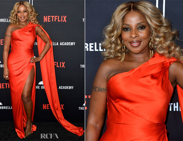 Fashion Blogger Catherine Kallon features Mary J Blige In Ralph & Russo - Premiere Of Netflix's 'The Umbrella Academy'