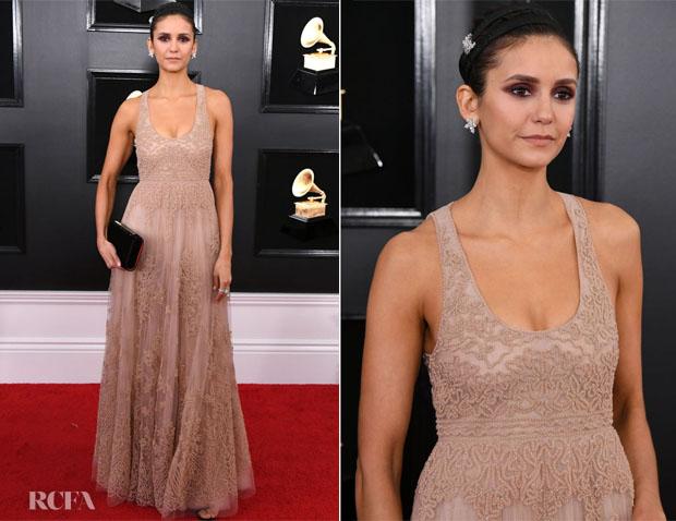 Fashion Blogger Catherine Kallon features Nina Dobrev In Christian Dior - 2019 Grammy Awards