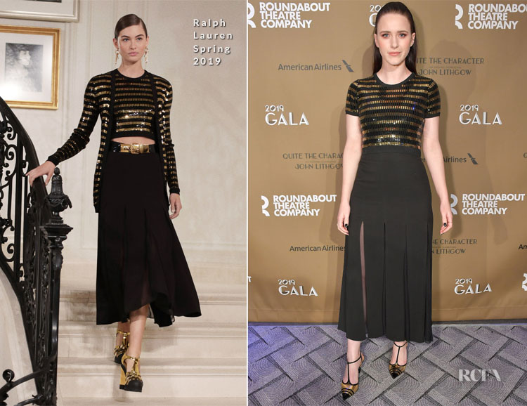 Rachel Brosnahan in Ralph Lauren Collection - Roundabout Theatre Company 2019 Gala