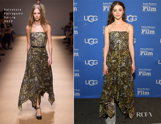 Fashion Blogger Catherine Kallon features Thomasin McKenzie In Salvatore Ferragamo - 2019 Santa Barbara International Film Festival