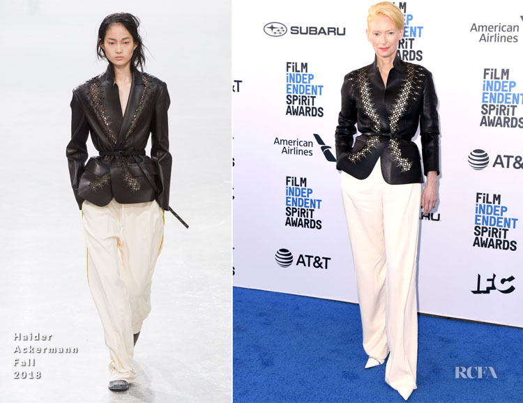 Fashion Blogger Catherine Kallon features Tilda Swinton In Haider Ackermann - 2019 Film Independent Spirit Awards