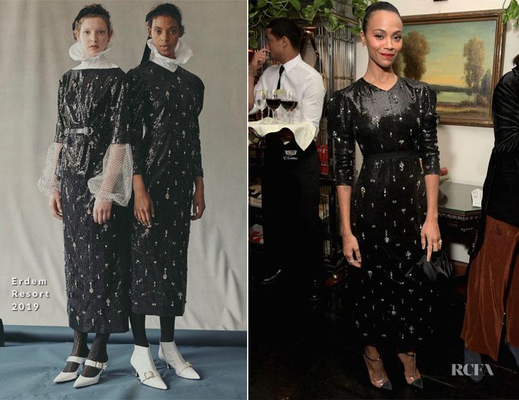 Fashion Blogger Catherine Kallon features Zoe Saldana In Erdem - Cadillac Celebrates Oscar Week 2019