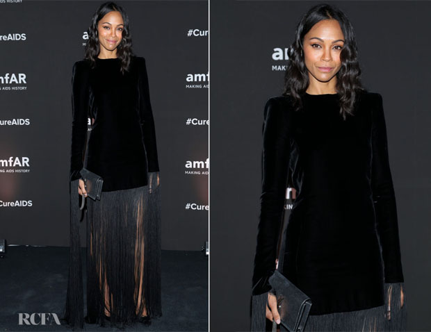Fashion Blogger Catherine Kallon features Zoe Saldana In Saint Laurent - amfAR Mexico City Gala 2019