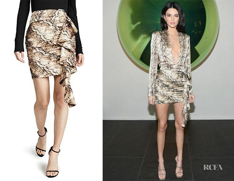 Kendall Jenner's Ronny Kobo Lauryn Snakeskin Print Skirt