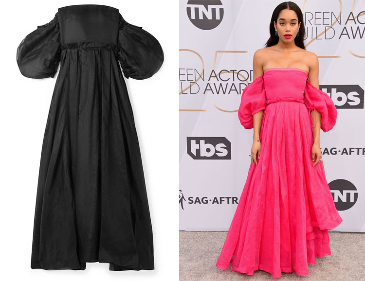 517d46e2 Laura Harrier's Loewe Off-The-Shoulder Gown - Red Carpet Fashion Awards