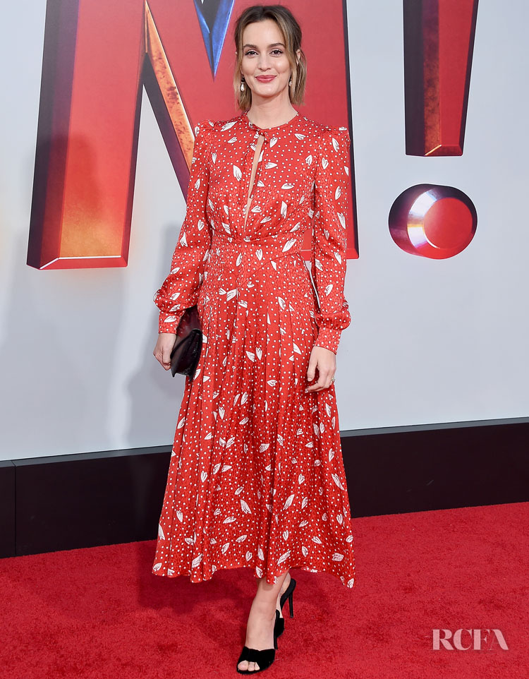Leighton Meester In Alessandra Rich - SHAZAM LA Premiere