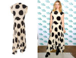 Lily James' Petar Petrov Daly Asymmetric Polka-Dot Dress