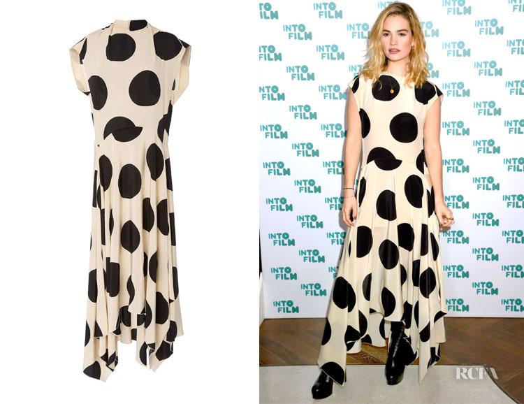 Lily James' Petar Petrov Daly Asymmetric Polka-Dot Dress