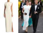 Meghan, Duchess of Sussex's Theia Crepe Jeweled Appliqué Gown
